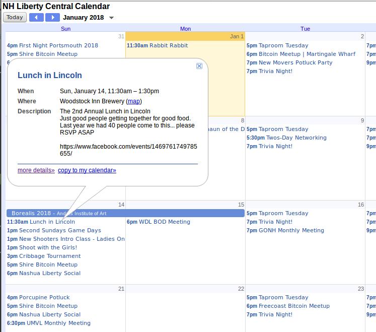 NH Liberty Calendar